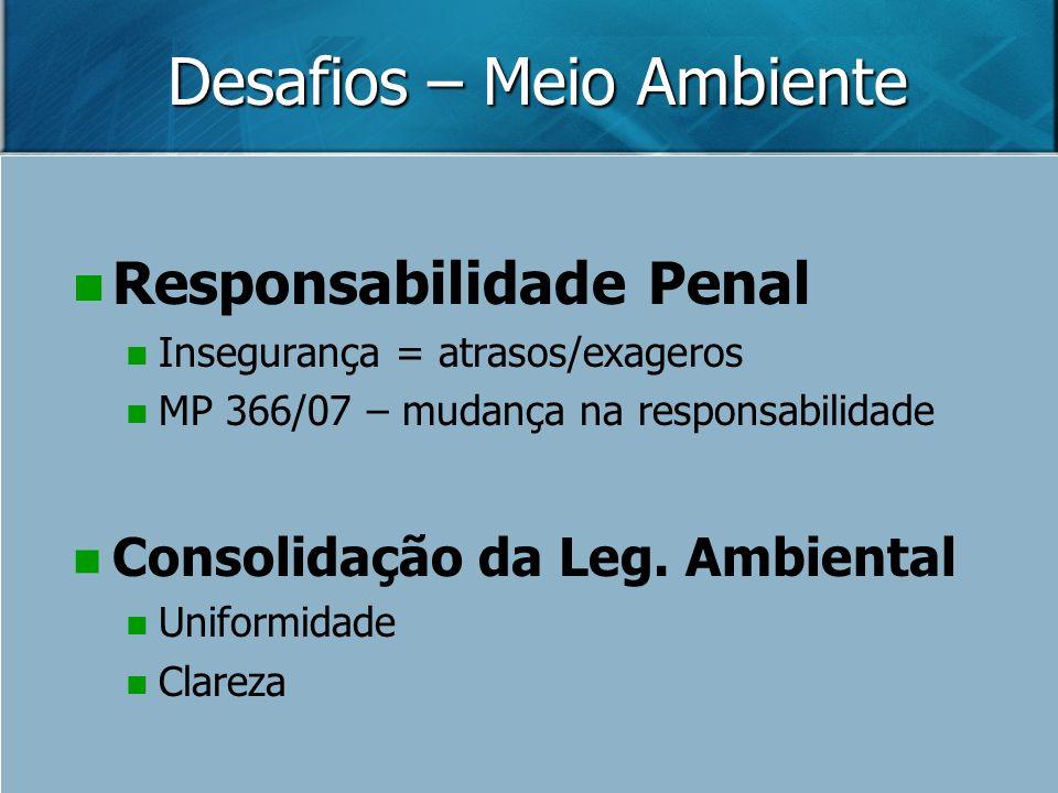 Desafios – Meio Ambiente Responsabilidade Penal Insegurança = atrasos/exageros MP 366/07 – mudança na responsabilidade Consolidação da Leg. Ambiental