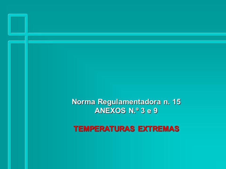 1 Temperatura Extremas Conceito Toda temperatura ambiental superior a 45 ºC ou inferior a 12,50 2,50 ºC Temperatura interna do corpo humano = 40 ºC (temperatura ótima metabólica) Temperatura externa do corpo humano = 36.80 0,20 ºC (axilar, oral e retal)