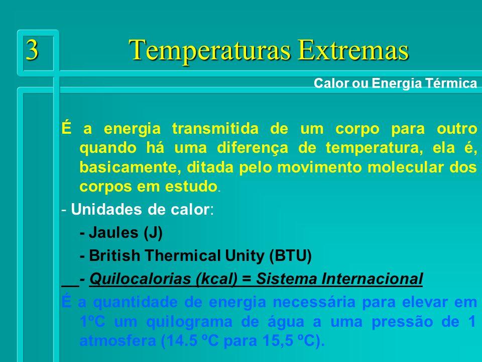 14 Temperaturas Extremas Principais fatores que influem nas trocas térmicas Velocidade do ar (o aumento da velocidade do ar acelera a troca de camadas de ar, aumentando o fluxo de calor entre este e o ar).