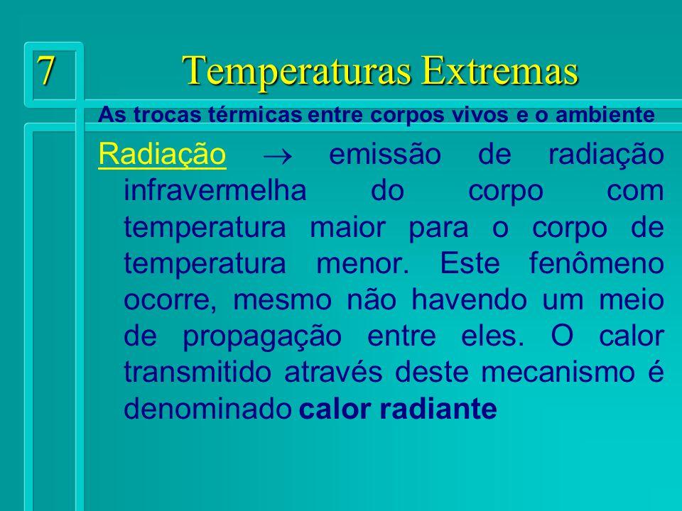 8 Temperaturas Extremas As trocas térmicas entre corpos vivos e o ambiente Evaporação passagem de um líquido adsorvido a superfície do corpo sólido para o estado gasoso em função da quantidade de vapor existente no meio em uma determinada temperatura e da velocidade do ar na superfície do sólido.