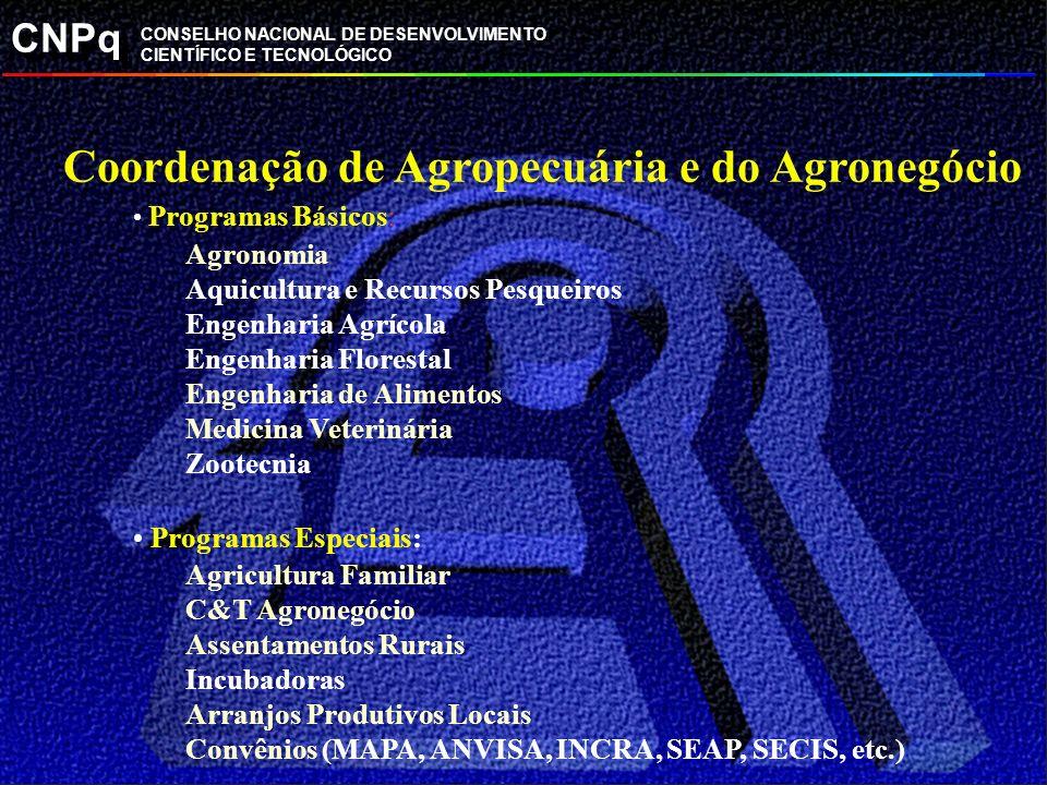 CNPq CONSELHO NACIONAL DE DESENVOLVIMENTO CIENTÍFICO E TECNOLÓGICO Coordenação de Agropecuária e do Agronegócio Programas Básicos: Agronomia Aquicultu