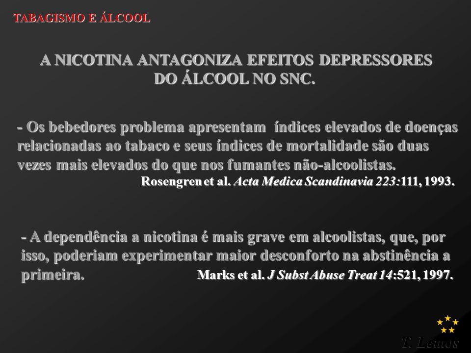 T. Lemos TABAGISMO E ÁLCOOL A NICOTINA ANTAGONIZA EFEITOS DEPRESSORES A NICOTINA ANTAGONIZA EFEITOS DEPRESSORES DO ÁLCOOL NO SNC. - A dependência a ni