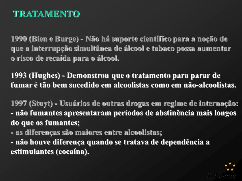 T. Lemos TRATAMENTO TRATAMENTO 1990 (Bien e Burge) - Não há suporte científico para a noção de que a interrupção simultânea de álcool e tabaco possa a