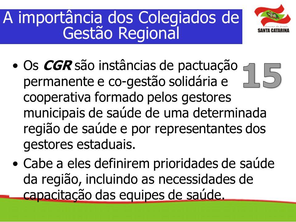 Os CGR são instâncias de pactuação permanente e co-gestão solidária e cooperativa formado pelos gestores municipais de saúde de uma determinada região