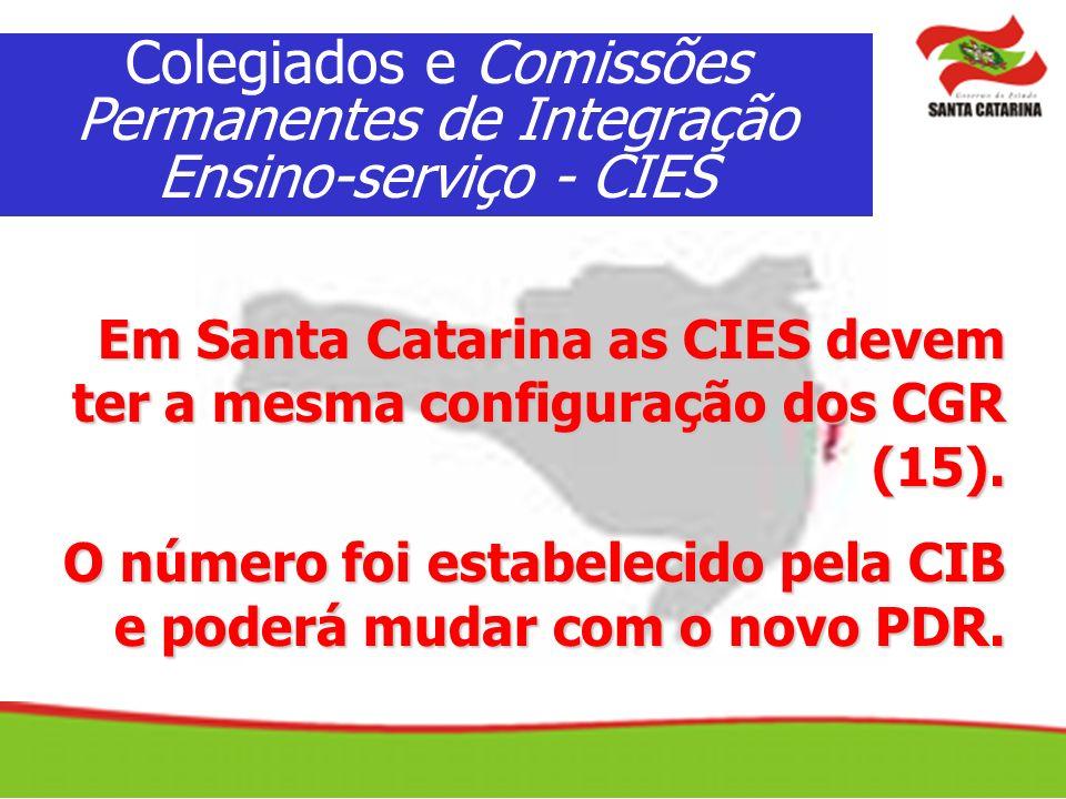 Em Santa Catarina as CIES devem ter a mesma configuração dos CGR (15). O número foi estabelecido pela CIB e poderá mudar com o novo PDR. Colegiados e