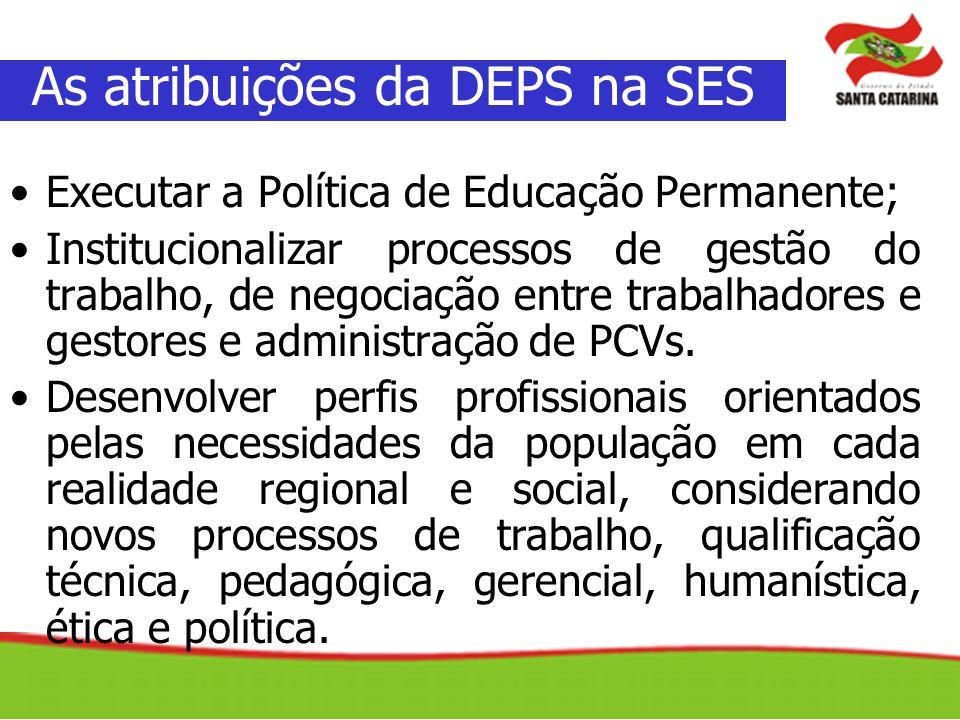 Executar a Política de Educação Permanente; Institucionalizar processos de gestão do trabalho, de negociação entre trabalhadores e gestores e administ