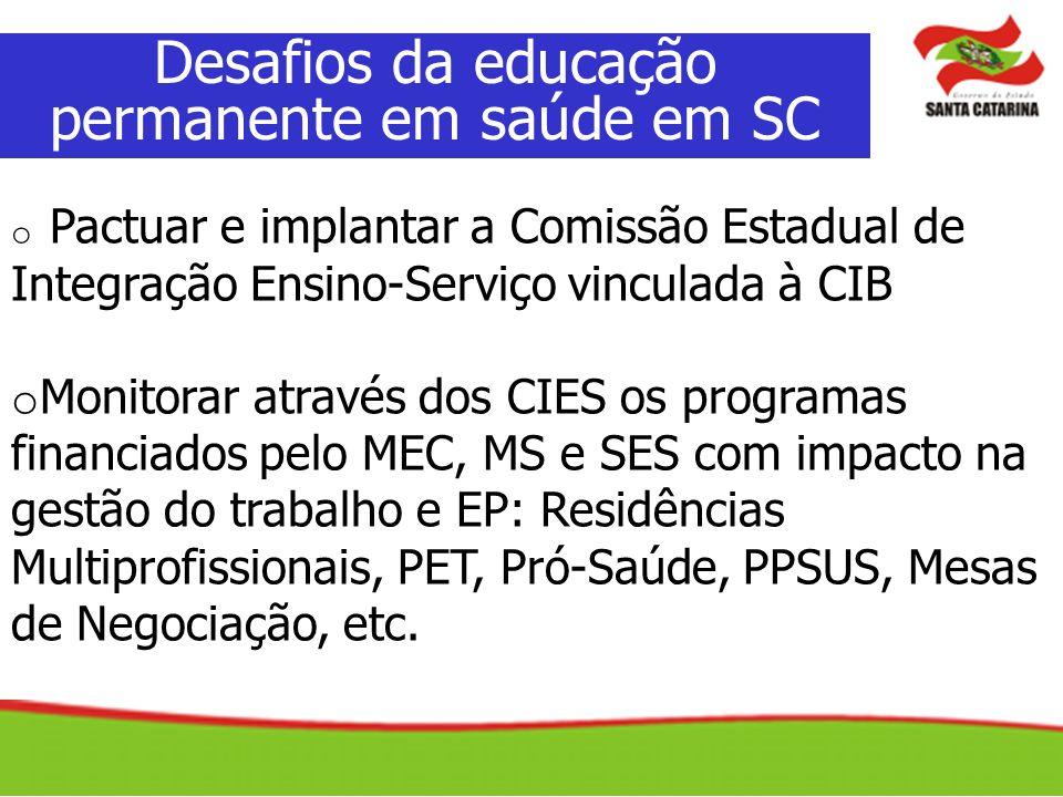 Desafios da educação permanente em saúde em SC o Pactuar e implantar a Comissão Estadual de Integração Ensino-Serviço vinculada à CIB o Monitorar atra
