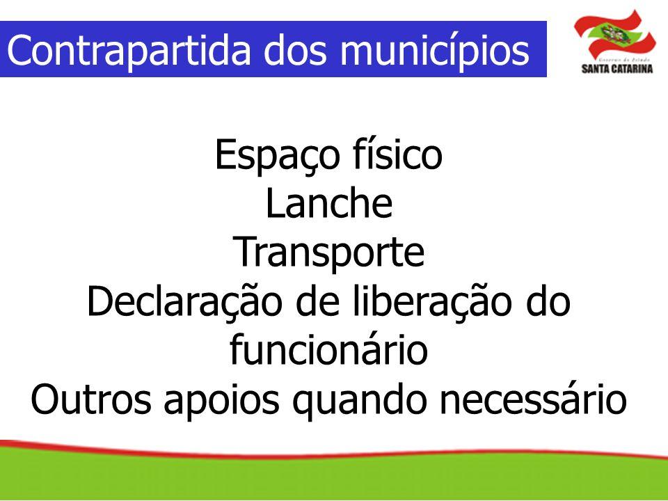 Contrapartida dos municípios Espaço físico Lanche Transporte Declaração de liberação do funcionário Outros apoios quando necessário