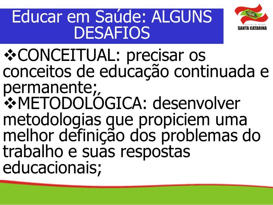 CONCEITUAL: precisar os conceitos de educação continuada e permanente; METODOLÓGICA: desenvolver metodologias que propiciem uma melhor definição dos p