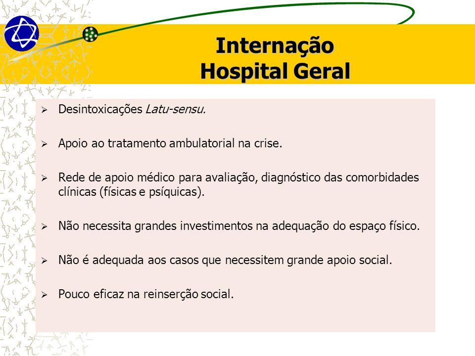 Internação Hospital Geral Desintoxicações Latu-sensu. Apoio ao tratamento ambulatorial na crise. Rede de apoio médico para avaliação, diagnóstico das