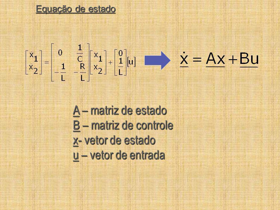 Equação de estado A – matriz de estado B – matriz de controle x- vetor de estado u – vetor de entrada