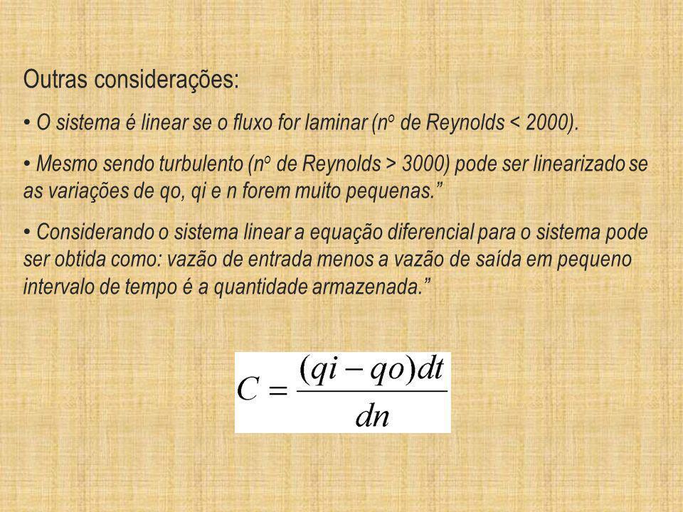 Outras considerações: O sistema é linear se o fluxo for laminar (n o de Reynolds < 2000). Mesmo sendo turbulento (n o de Reynolds > 3000) pode ser lin