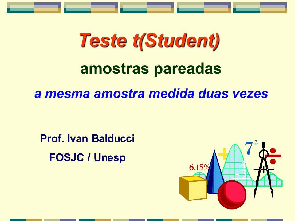 Teste t(Student) Prof. Ivan Balducci FOSJC / Unesp amostras pareadas a mesma amostra medida duas vezes