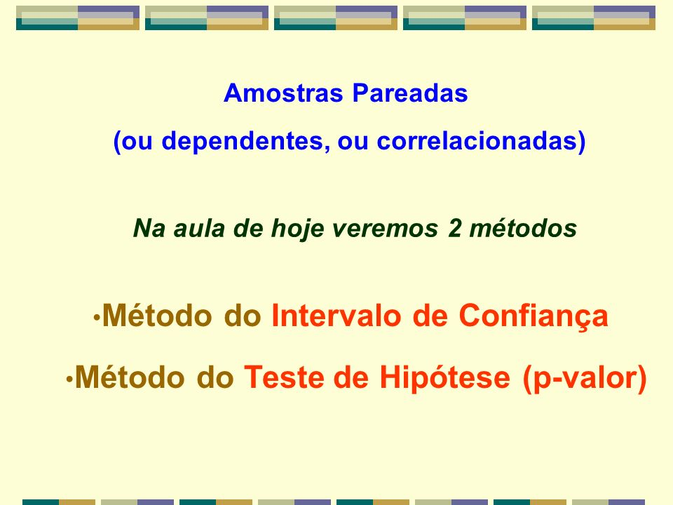 Método do Intervalo de Confiança H 0 : 1 = 2 ou ( 2 - 1 ) = = Zero Verificamos se o valor ZERO pertence ou não ao Intervalo de Confiança da diferença estabelecido a partir do valor da média amostral ZERO -5 +1 diferença