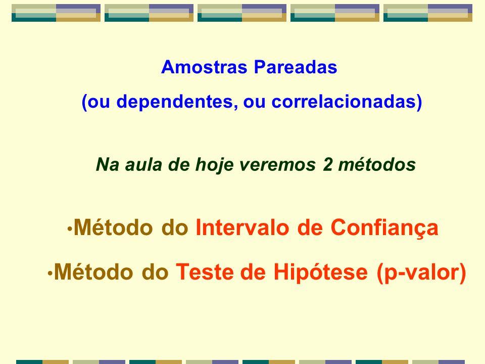 Amostras Pareadas (ou dependentes, ou correlacionadas) Método do Intervalo de Confiança Método do Teste de Hipótese (p-valor) Na aula de hoje veremos