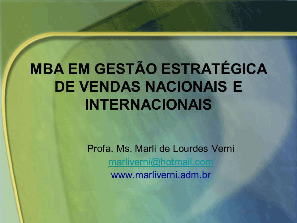 MBA EM GESTÃO ESTRATÉGICA DE VENDAS NACIONAIS E INTERNACIONAIS Profa.