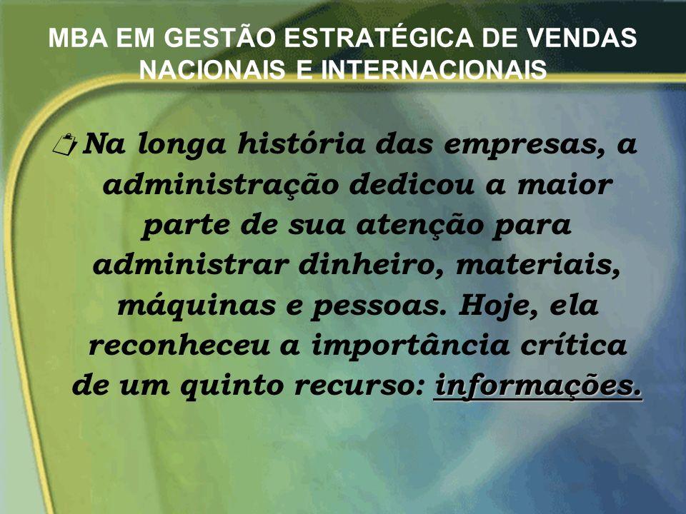 MBA EM GESTÃO ESTRATÉGICA DE VENDAS NACIONAIS E INTERNACIONAIS informações.