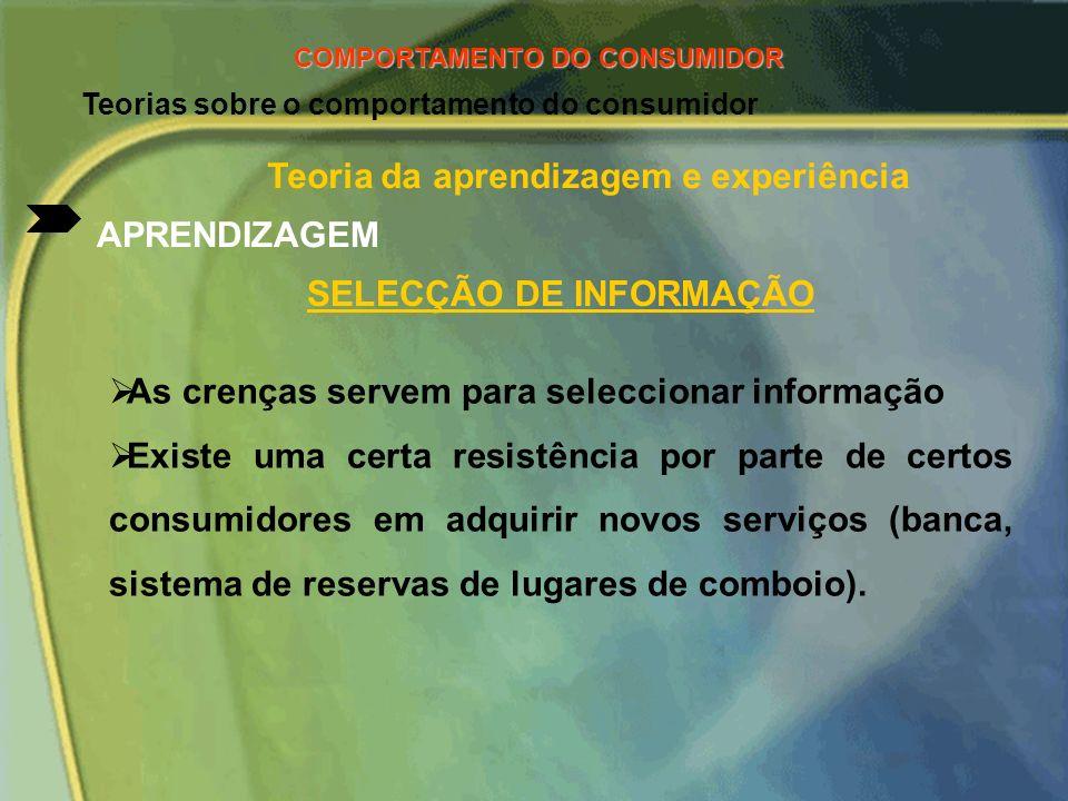 Teorias sobre o comportamento do consumidor ETAPAS DE RECORDAÇÃO DE INFORMAÇÃO DE UM PRODUTO A marca e seus atributos A publicidade (mensagens) A cate