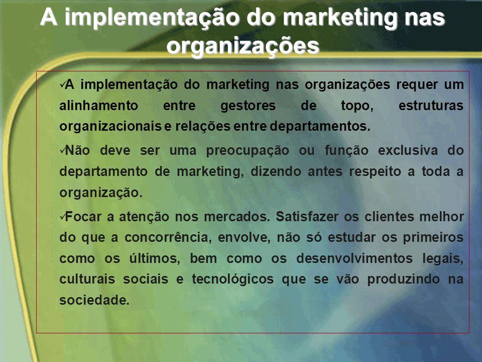 A implementação do marketing nas organizações A implementação do marketing nas organizações requer um alinhamento entre gestores de topo, estruturas organizacionais e relações entre departamentos.