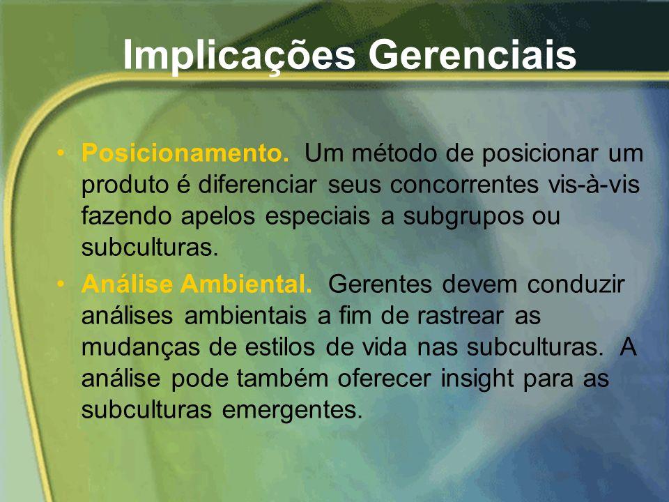 Subculturas Regionais...... Apresentam estilos de vida distintos que resultam das variações no clima, cultura e mistura étnica de pessoas. Conseqüente