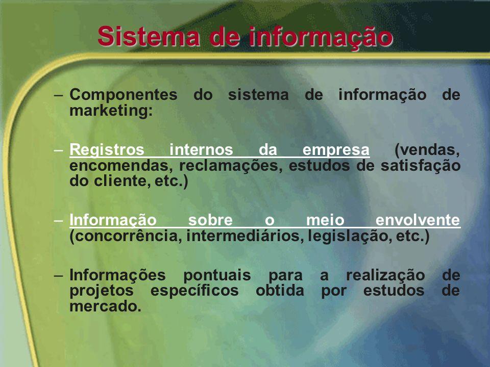 Sistema de informação O marketing, ao centrar a sua atenção na satisfação do cliente como via para atingir os objetivos organizacionais, implica a nec