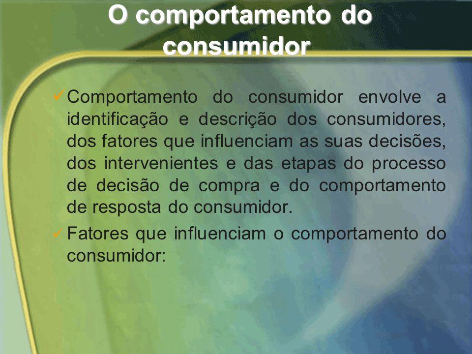 Comportamento do consumidor envolve a identificação e descrição dos consumidores, dos fatores que influenciam as suas decisões, dos intervenientes e das etapas do processo de decisão de compra e do comportamento de resposta do consumidor.