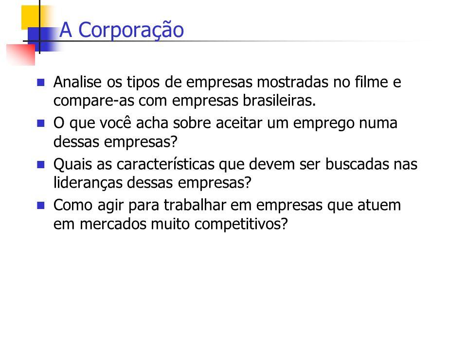 A Corporação Analise os tipos de empresas mostradas no filme e compare-as com empresas brasileiras. O que você acha sobre aceitar um emprego numa dess