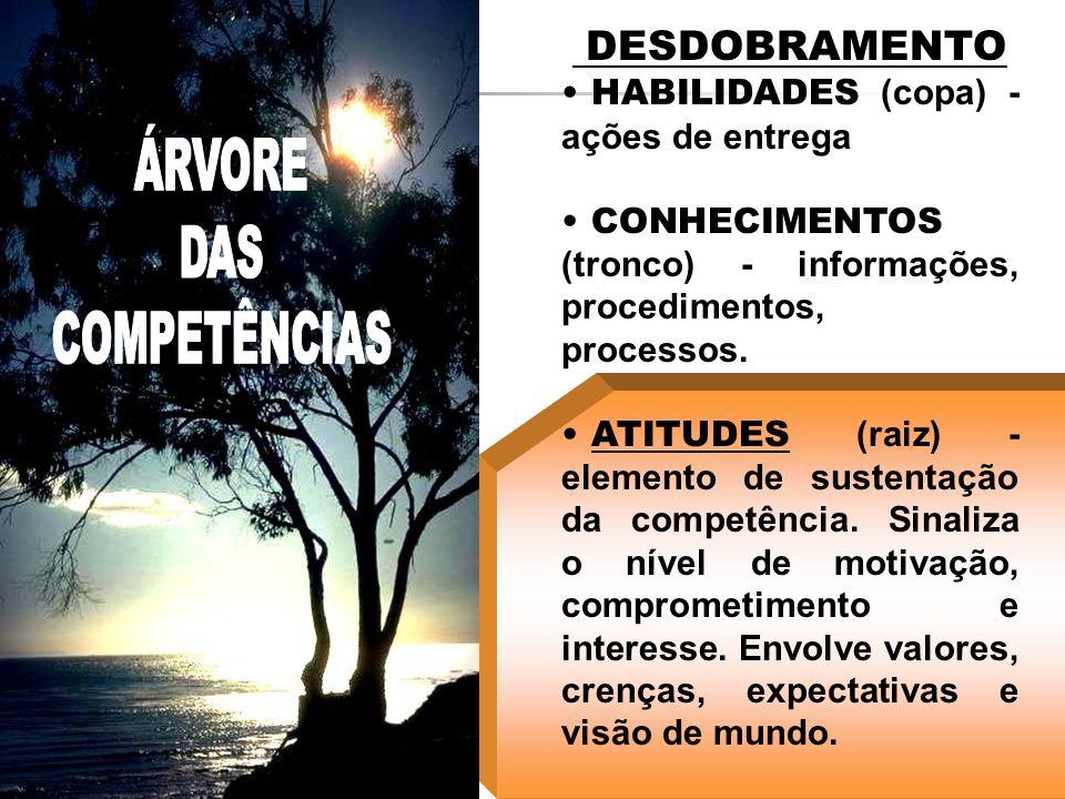 DESDOBRAMENTO HABILIDADES (copa) - ações de entrega CONHECIMENTOS (tronco) - informações, procedimentos, processos. ATITUDES (raiz) - elemento de sust