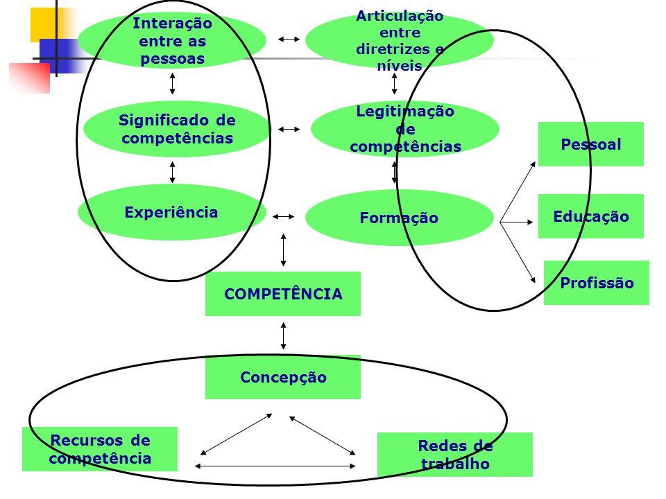 Interação entre as pessoas Articulação entre diretrizes e níveis Significado de competências Legitimação de competências Experiência Formação COMPETÊN