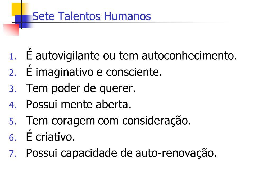 Sete Talentos Humanos 1. É autovigilante ou tem autoconhecimento. 2. É imaginativo e consciente. 3. Tem poder de querer. 4. Possui mente aberta. 5. Te