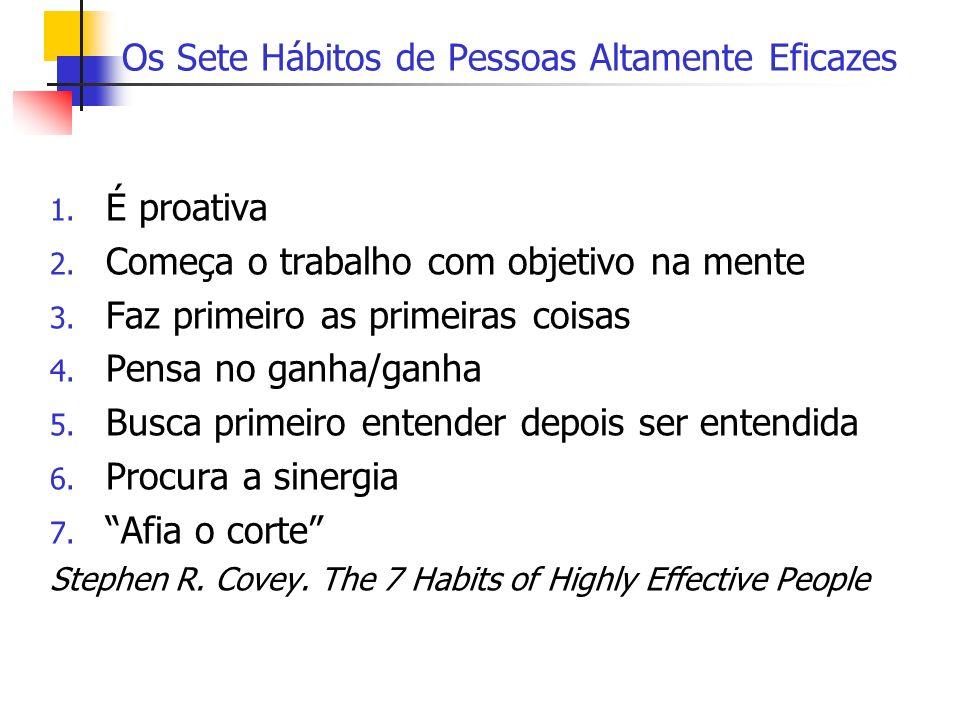 Os Sete Hábitos de Pessoas Altamente Eficazes 1. É proativa 2. Começa o trabalho com objetivo na mente 3. Faz primeiro as primeiras coisas 4. Pensa no