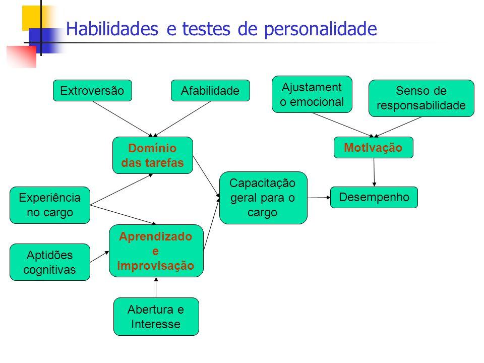 Habilidades e testes de personalidade Domínio das tarefas Aprendizado e improvisação Abertura e Interesse AfabilidadeExtroversão Motivação Ajustament