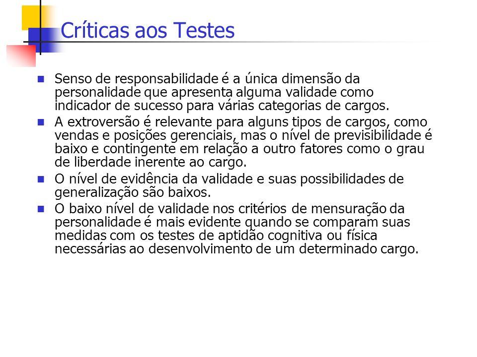 Críticas aos Testes Senso de responsabilidade é a única dimensão da personalidade que apresenta alguma validade como indicador de sucesso para várias