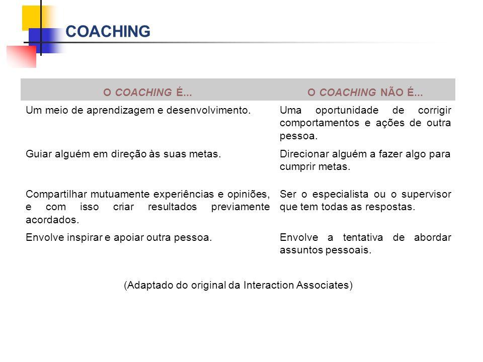 COACHING O COACHING É...O COACHING NÃO É... Um meio de aprendizagem e desenvolvimento.Uma oportunidade de corrigir comportamentos e ações de outra pes