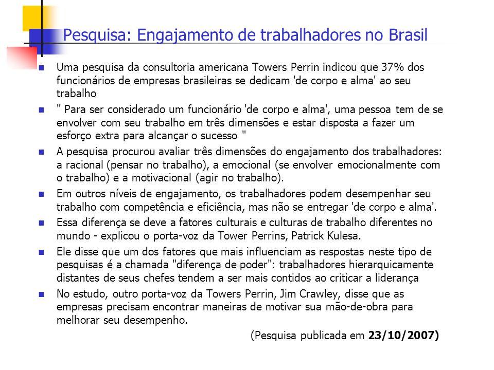 Pesquisa: Engajamento de trabalhadores no Brasil Uma pesquisa da consultoria americana Towers Perrin indicou que 37% dos funcionários de empresas bras