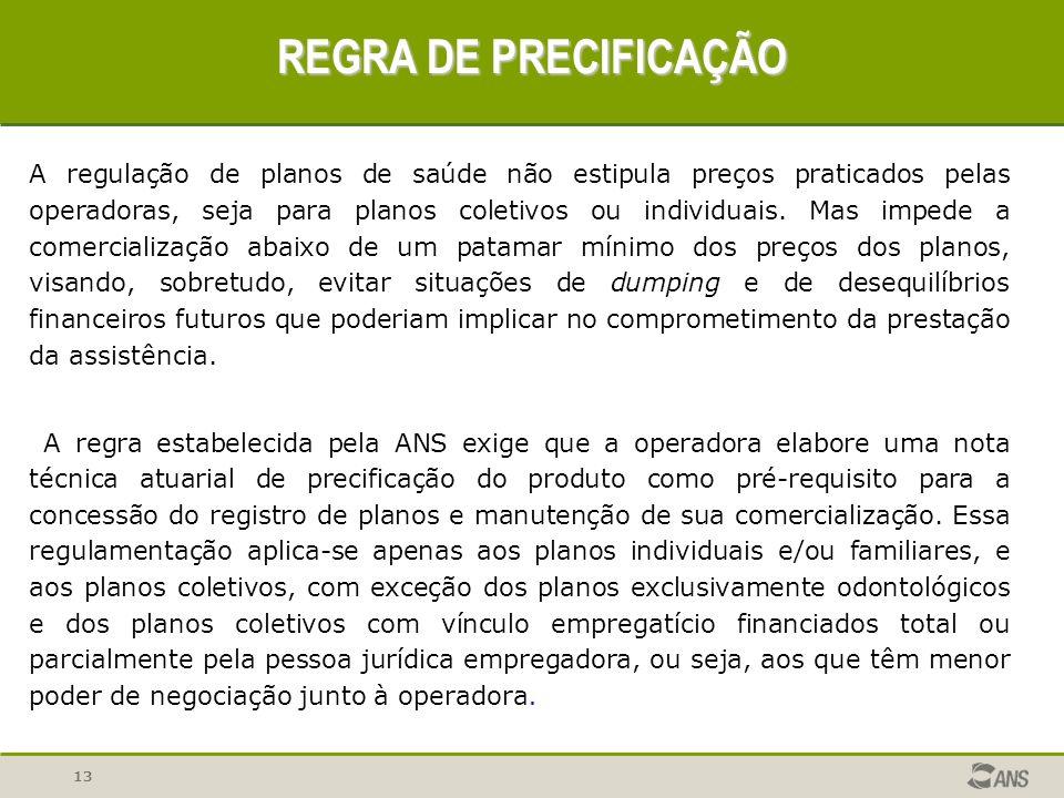 13 REGRA DE PRECIFICAÇÃO A regulação de planos de saúde não estipula preços praticados pelas operadoras, seja para planos coletivos ou individuais. Ma
