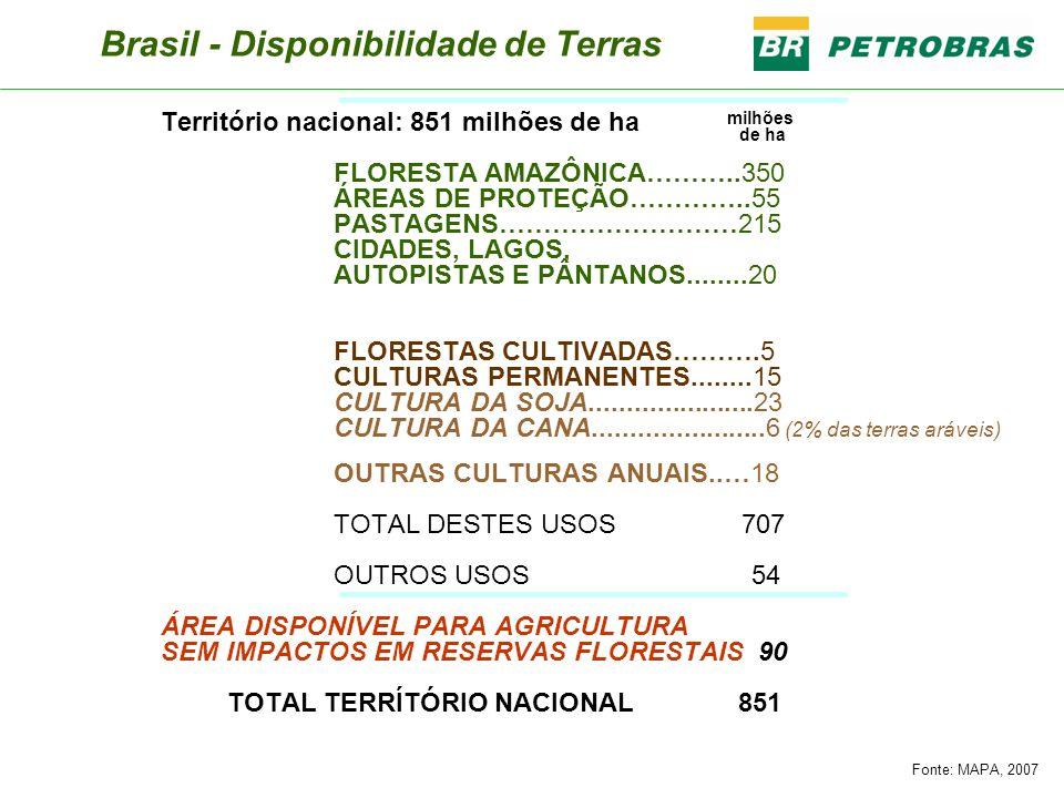 Brasil - Disponibilidade de Terras Território nacional: 851 milhões de ha FLORESTA AMAZÔNICA………..350 ÁREAS DE PROTEÇÃO…………..55 PASTAGENS………………………215 C