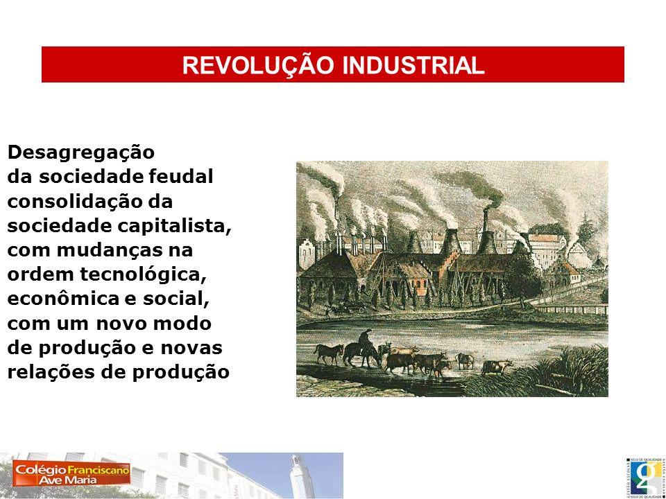 REVOLUÇÃO INDUSTRIAL Desagregação da sociedade feudal consolidação da sociedade capitalista, com mudanças na ordem tecnológica, econômica e social, co