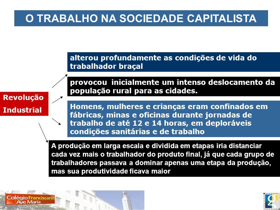 O TRABALHO NA SOCIEDADE CAPITALISTA Revolução Industrial alterou profundamente as condições de vida do trabalhador braçal provocou inicialmente um int