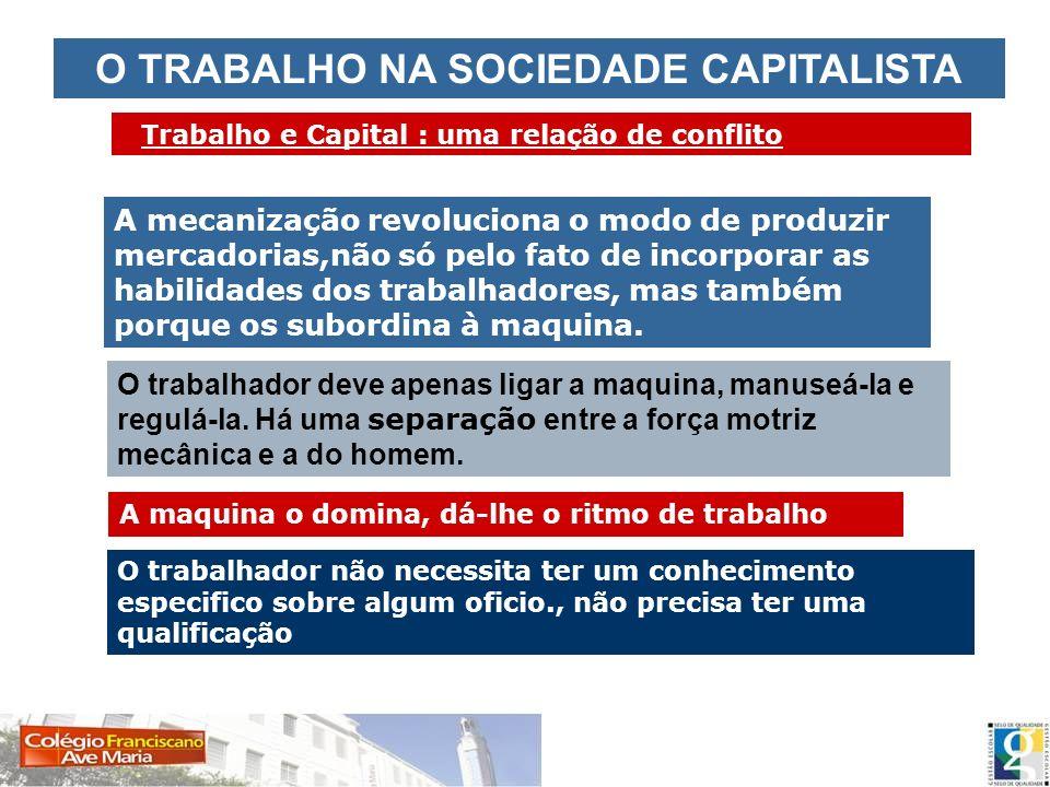 O TRABALHO NA SOCIEDADE CAPITALISTA Trabalho e Capital : uma relação de conflito A mecanização revoluciona o modo de produzir mercadorias,não só pelo