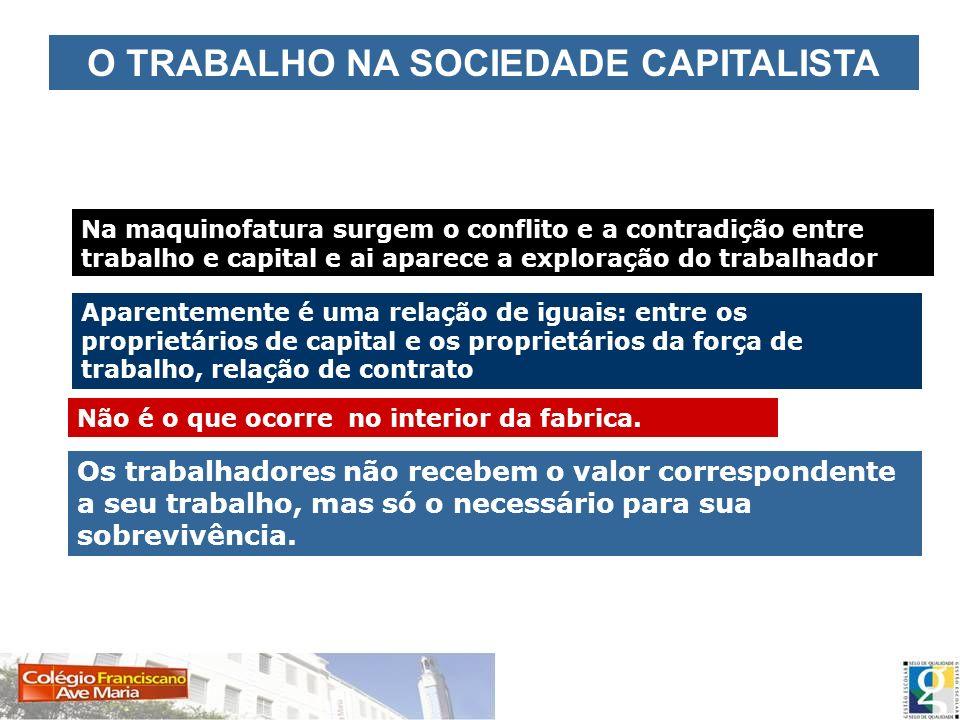 O TRABALHO NA SOCIEDADE CAPITALISTA Na maquinofatura surgem o conflito e a contradição entre trabalho e capital e ai aparece a exploração do trabalhad