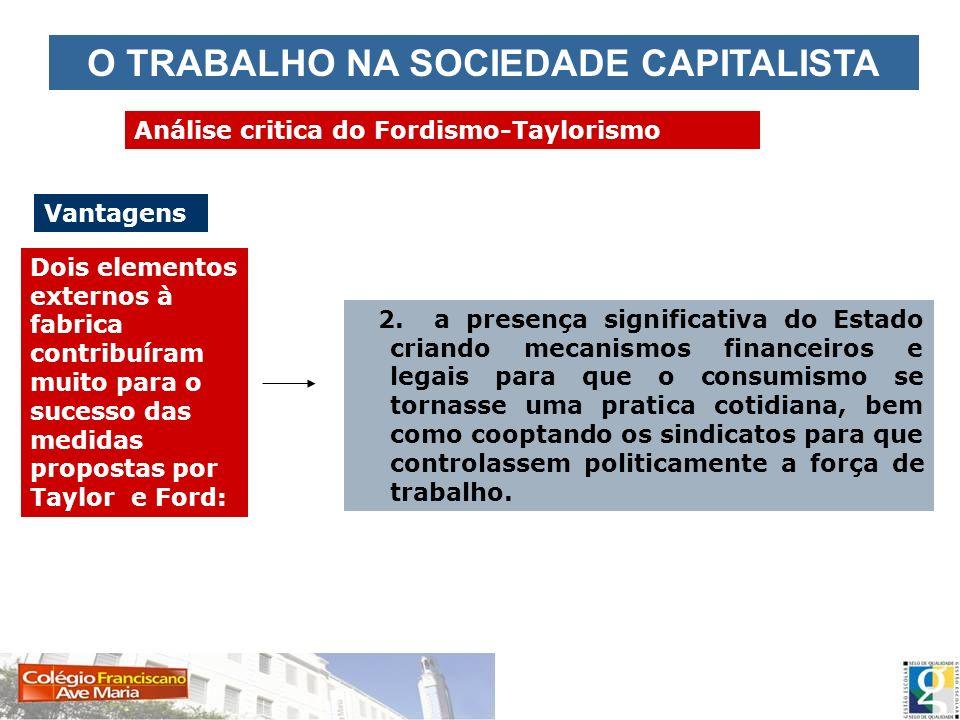 O TRABALHO NA SOCIEDADE CAPITALISTA Análise critica do Fordismo-Taylorismo Vantagens Dois elementos externos à fabrica contribuíram muito para o suces