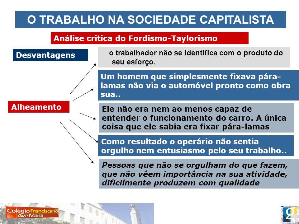 O TRABALHO NA SOCIEDADE CAPITALISTA Análise critica do Fordismo-Taylorismo Desvantagens Alheamento o trabalhador não se identifica com o produto do se