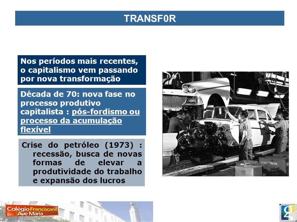 TRANSF0R Nos períodos mais recentes, o capitalismo vem passando por nova transformação Crise do petróleo (1973) : recessão, busca de novas formas de e