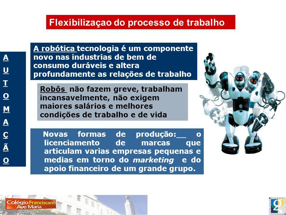 AUTOMAÇÃOAUTOMAÇÃO A robótica tecnologia é um componente novo nas industrias de bem de consumo duráveis e altera profundamente as relações de trabalho