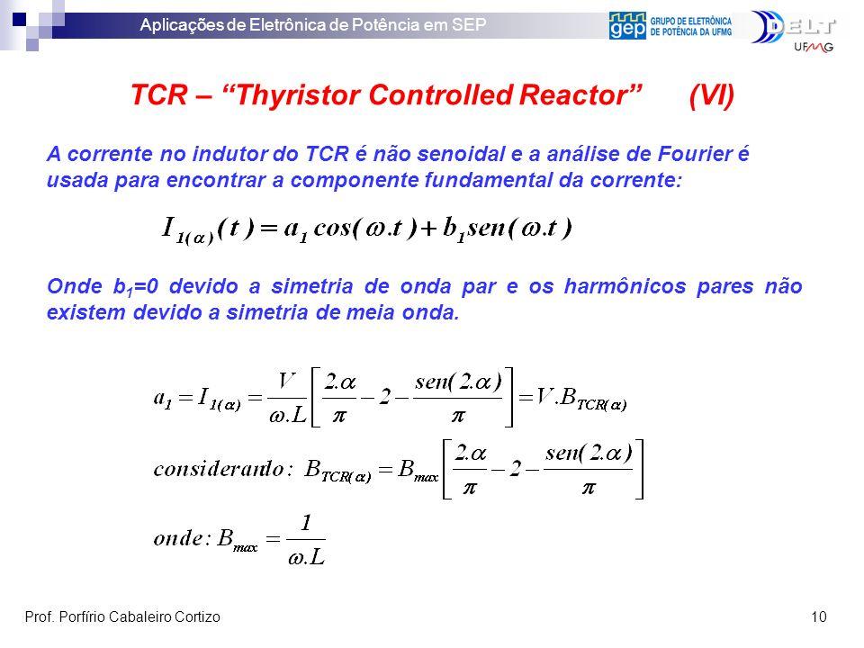 Aplicações de Eletrônica de Potência em SEP Prof. Porfírio Cabaleiro Cortizo 10 TCR – Thyristor Controlled Reactor (VI) A corrente no indutor do TCR é