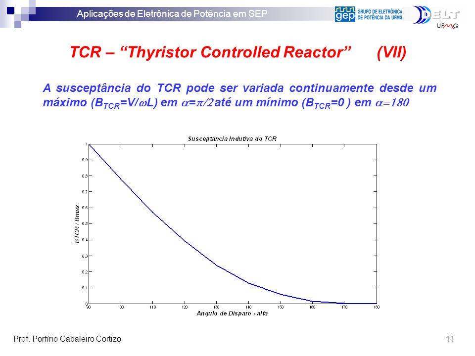 Aplicações de Eletrônica de Potência em SEP Prof. Porfírio Cabaleiro Cortizo 11 TCR – Thyristor Controlled Reactor (VII) A susceptância do TCR pode se