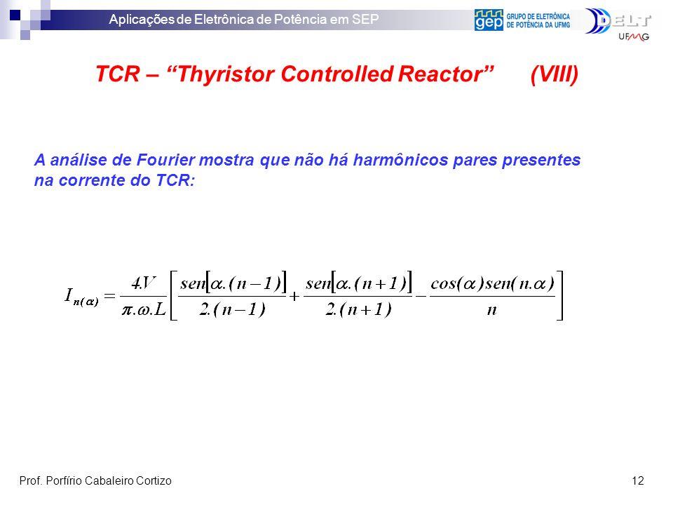 Aplicações de Eletrônica de Potência em SEP Prof. Porfírio Cabaleiro Cortizo 12 TCR – Thyristor Controlled Reactor (VIII) A análise de Fourier mostra