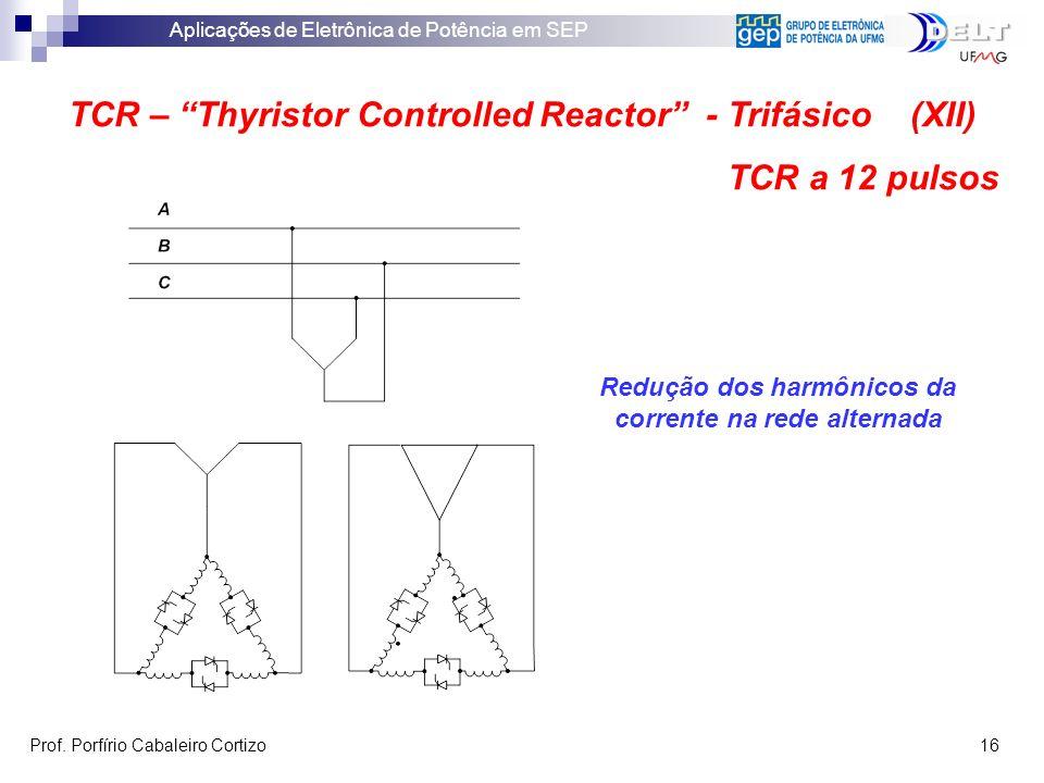 Aplicações de Eletrônica de Potência em SEP Prof. Porfírio Cabaleiro Cortizo 16 TCR – Thyristor Controlled Reactor - Trifásico (XII) TCR a 12 pulsos R