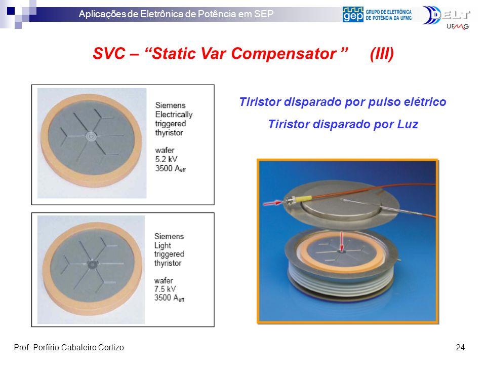 Aplicações de Eletrônica de Potência em SEP Prof. Porfírio Cabaleiro Cortizo 24 SVC – Static Var Compensator (III) Tiristor disparado por pulso elétri